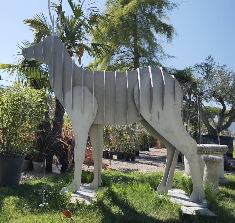 statue aluminium cerf grandeur nature